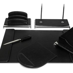 Majestic Goods Office - 8 Pcs Black w/ Silver Ecofriendly Leather Desk Set